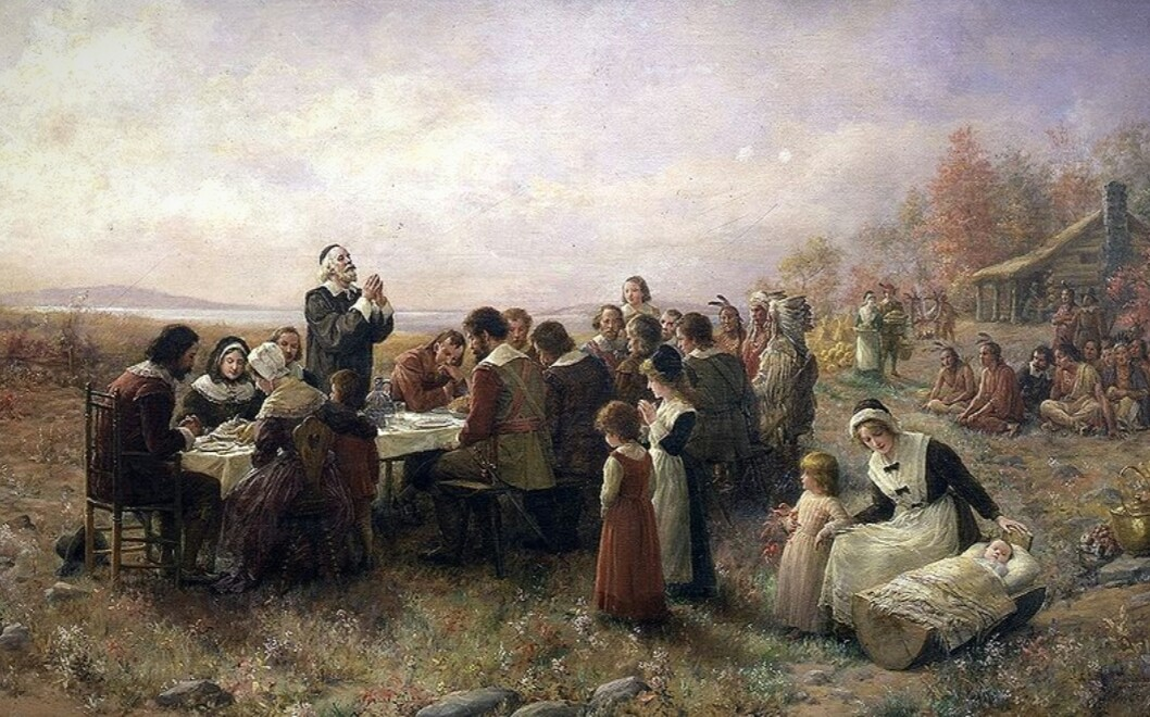 The First Thanksgiving at Plymouth (Jennie Brownscombe, 1914)