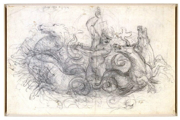 Drawing of Neptune and his Watery Steeds by Leonardo