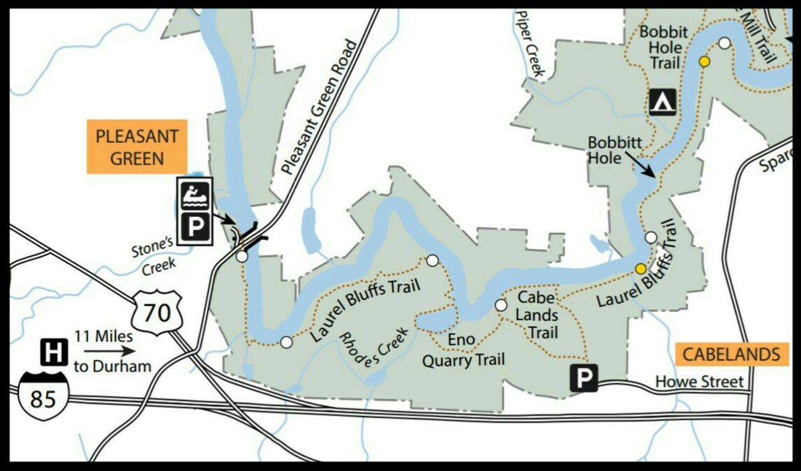 Map of Cabelands Access at Eno River State Park