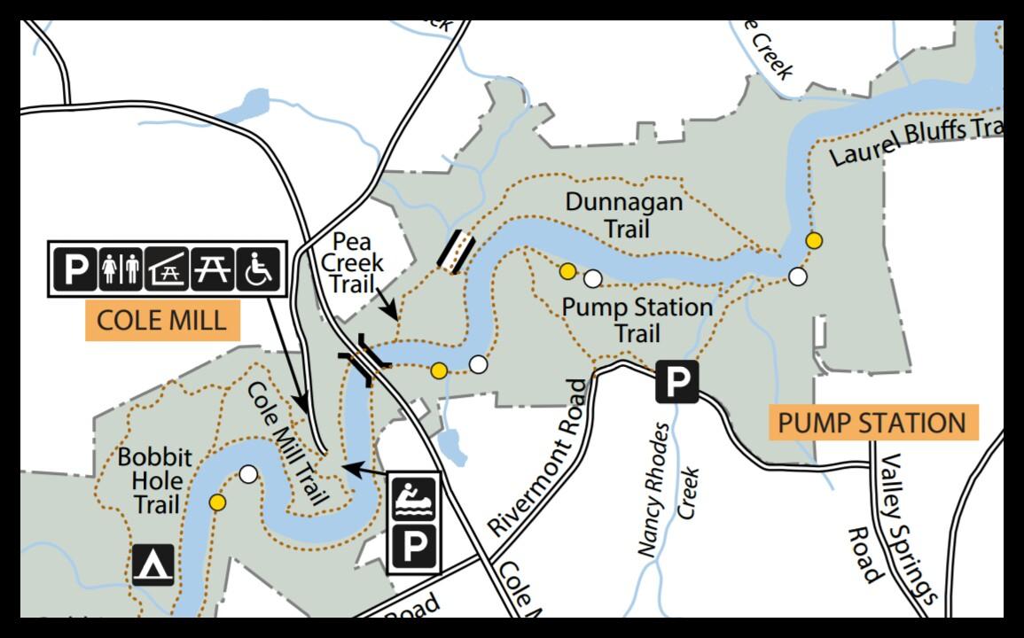 Map of Dunnagan Trail at Eno River State Park