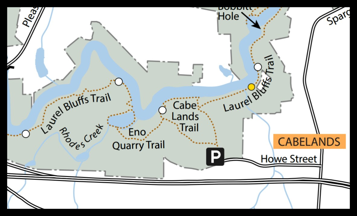 Map of Cabe Lands Trail at Eno River State Park