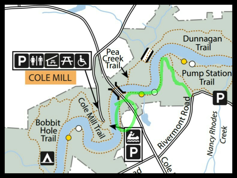 Trail map of Eno River State Park near Cole Mill