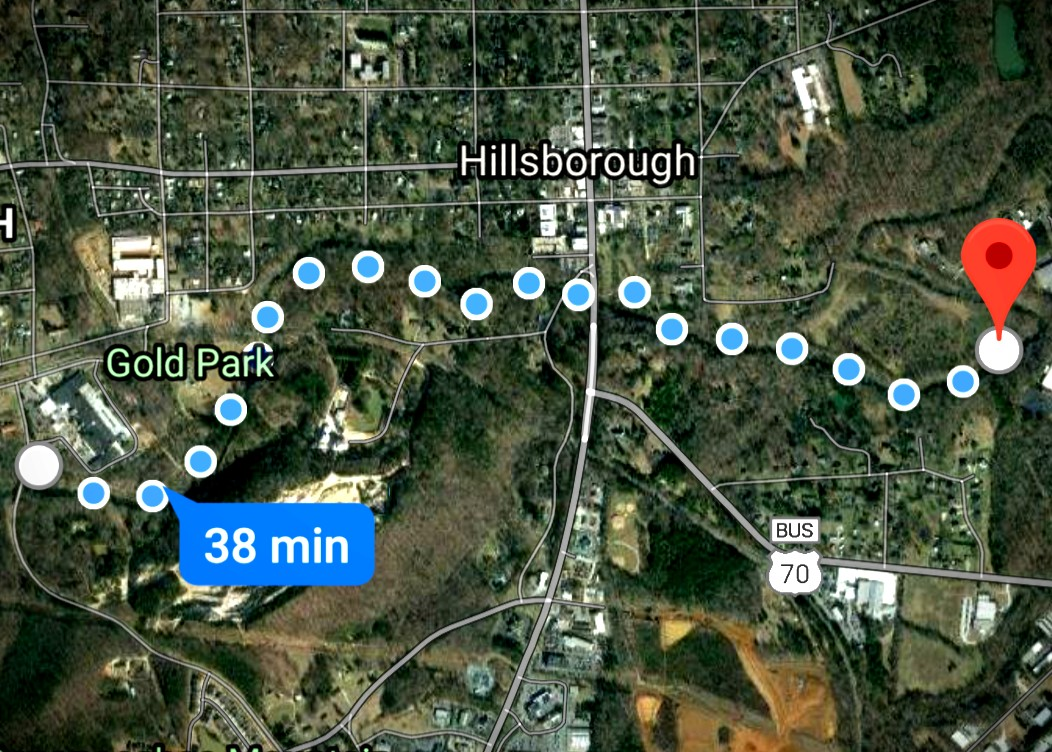 Map of Downtown Hillsborough, North Carolina, near the Hillsborough Riverwalk