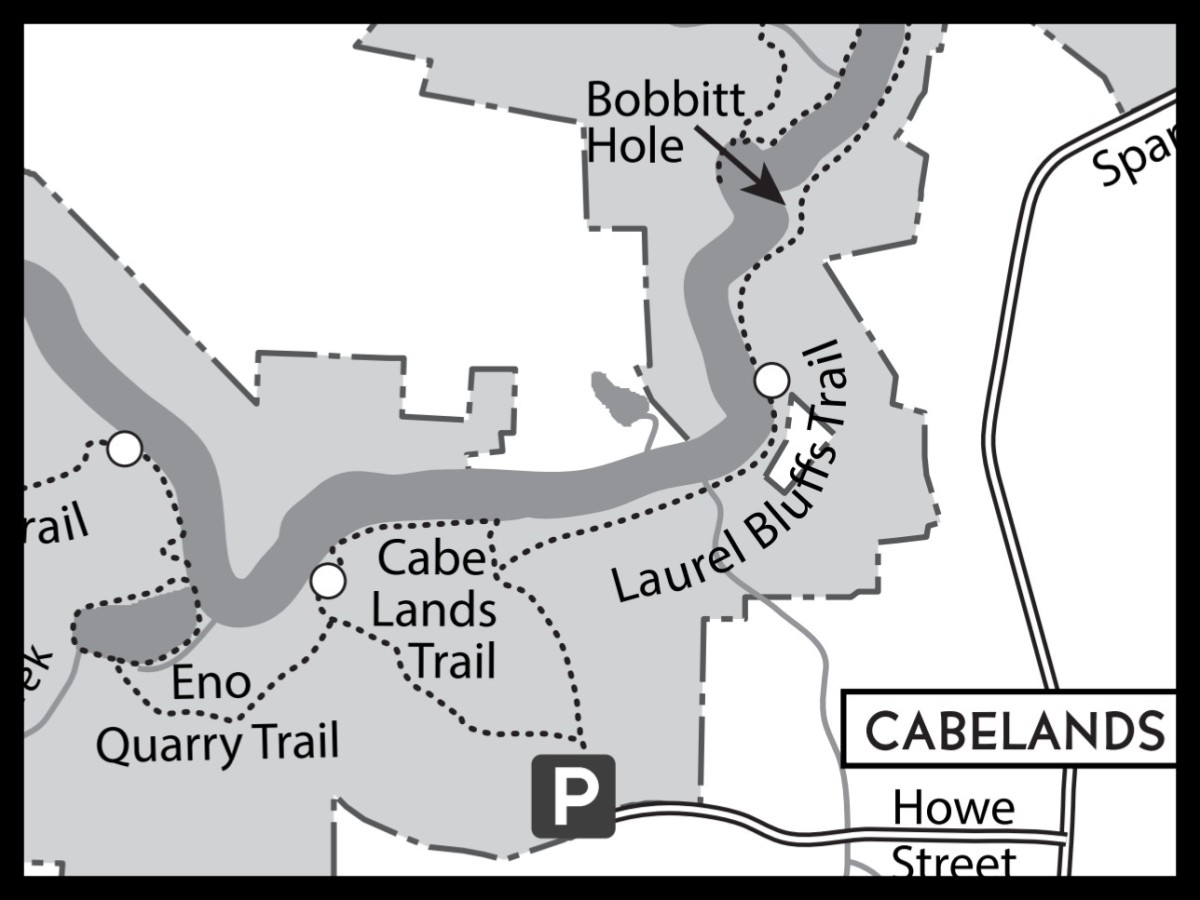 Map of Bobbitt Hole at Eno River State Park