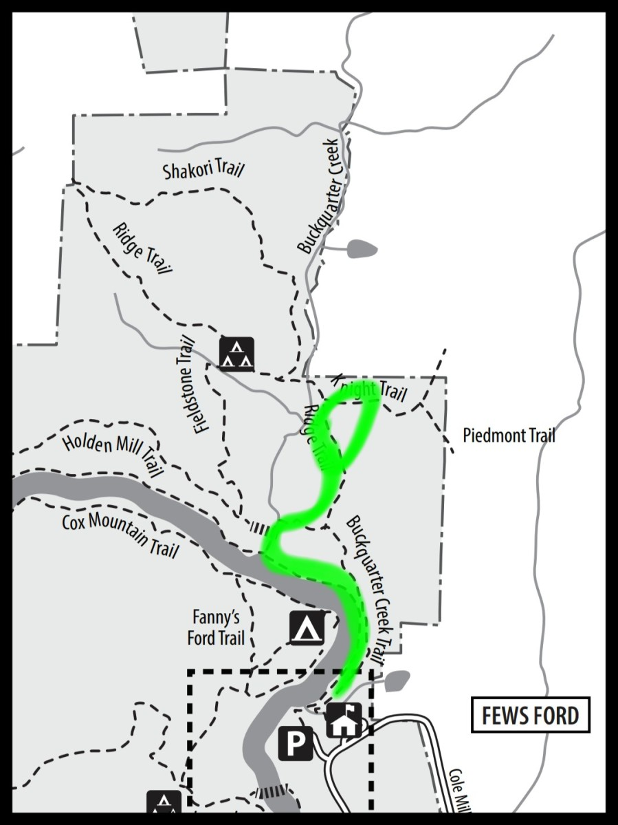 Map leading to Sister's House at Eno River State Park