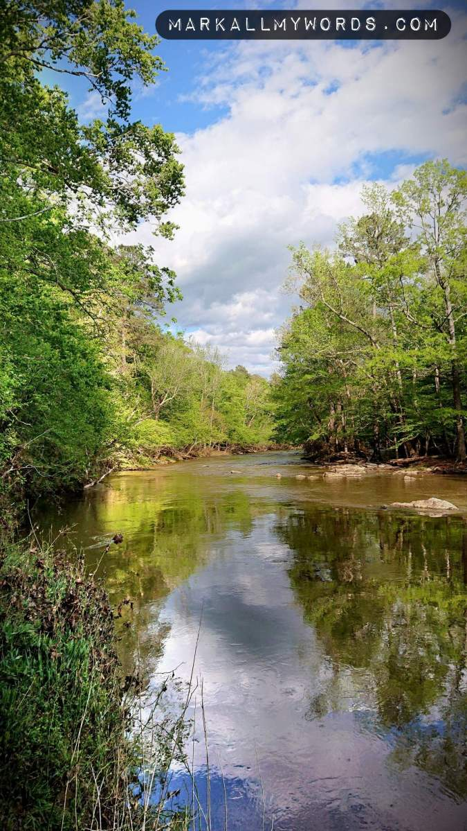 Eno River with clouds overhead