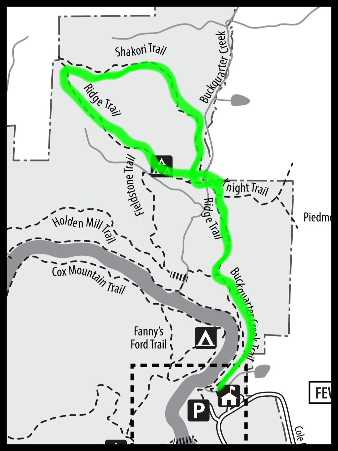 Map of Shakori Trail at Eno River State Park