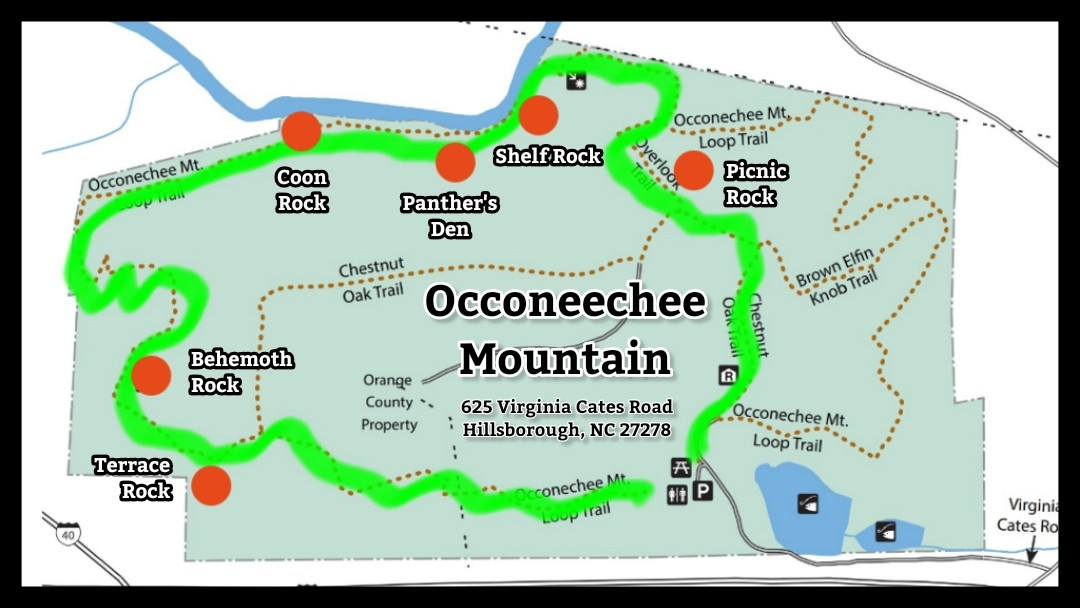 Map of Occoneechee Mountain in Hillsborough, NC