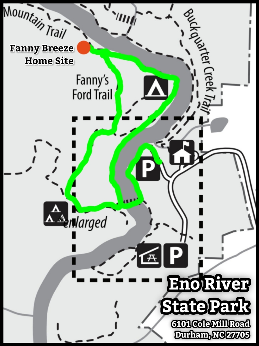 Map of Fanny's Ford Trail at Eno River State Park