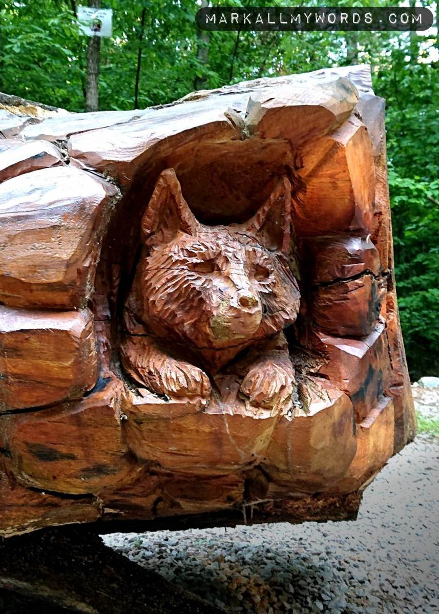 Closeup of fox carved into tree sculpture