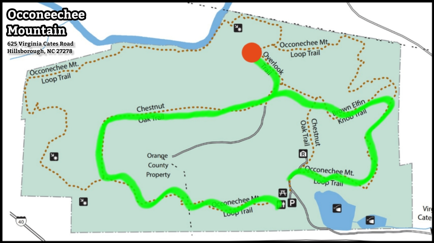 Map of Chestnut Oak Trail at Occoneechee Mountain