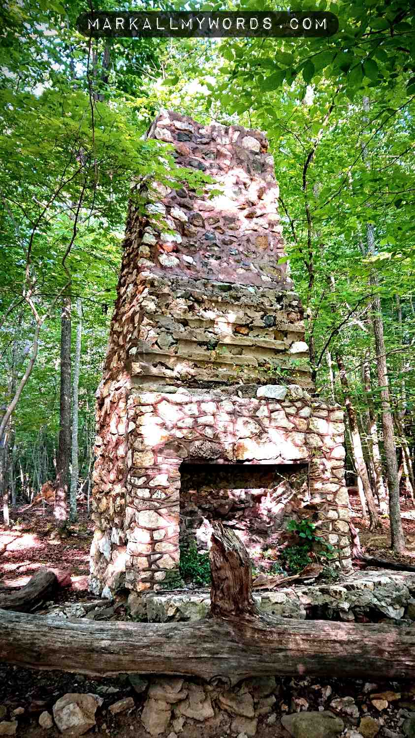 Old stone chimney in the woods