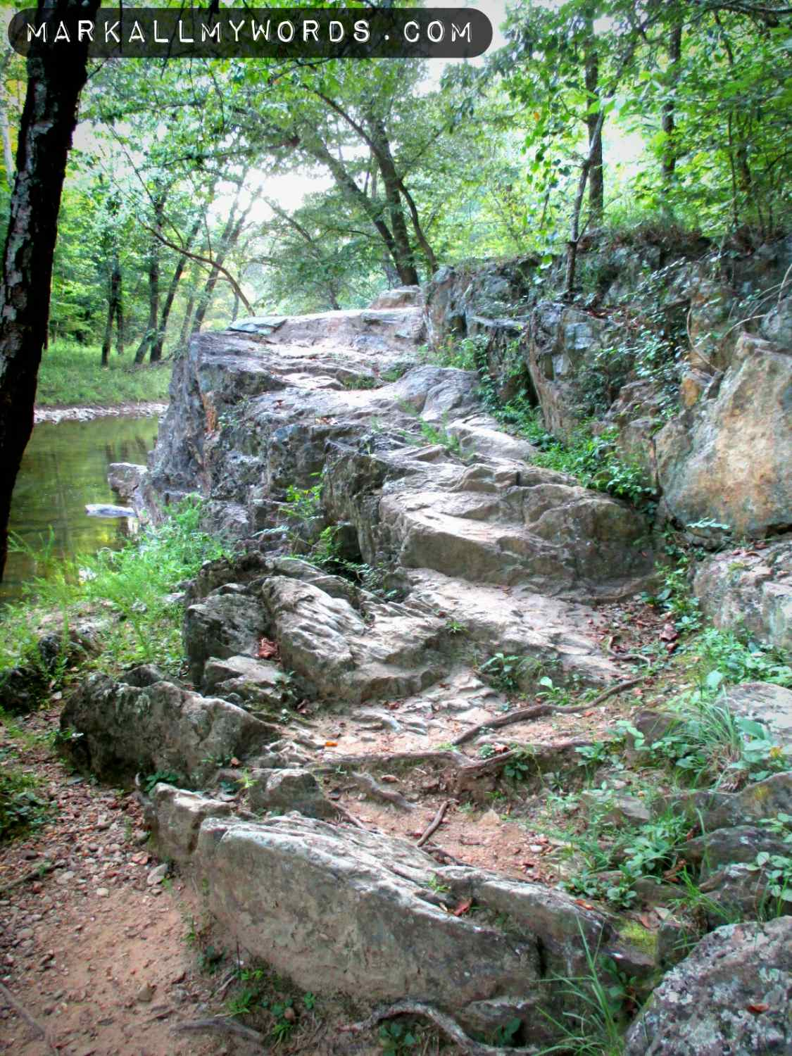 Carved stone stairs near Pump Station