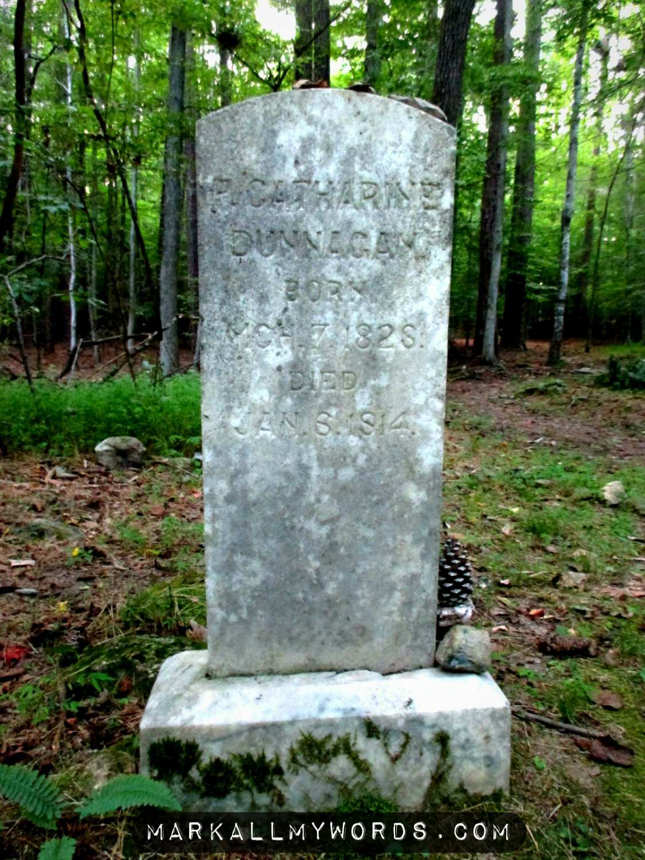 Closeup of Catharine Link Dunnagan's gravestone