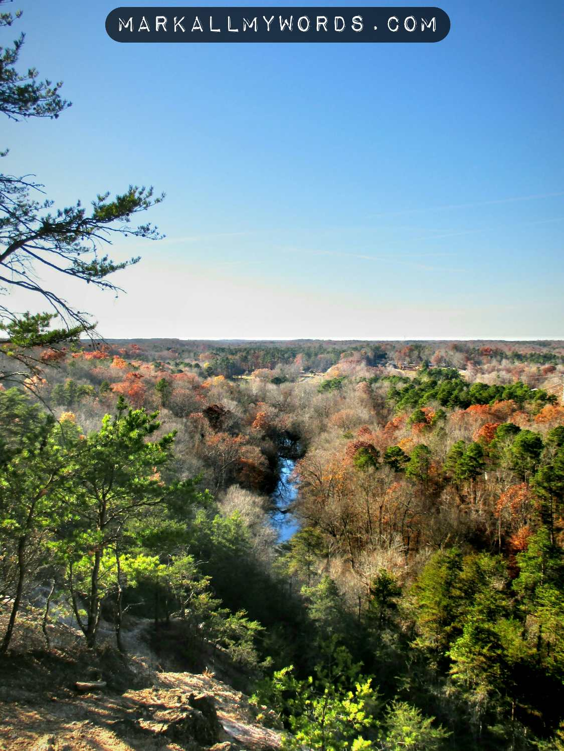 View of the Eno River from the Overlook at Occoneechee Mountain