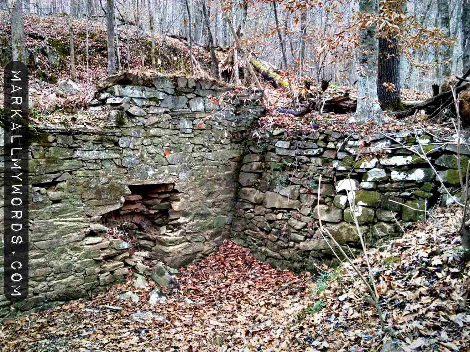 Closeup of ruins of Cabe Mill at Eno River State Park