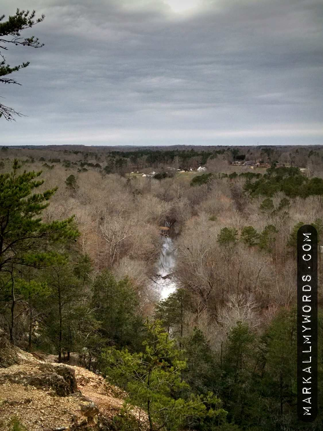 Eno River in winter from Occoneechee Mountain Overlook
