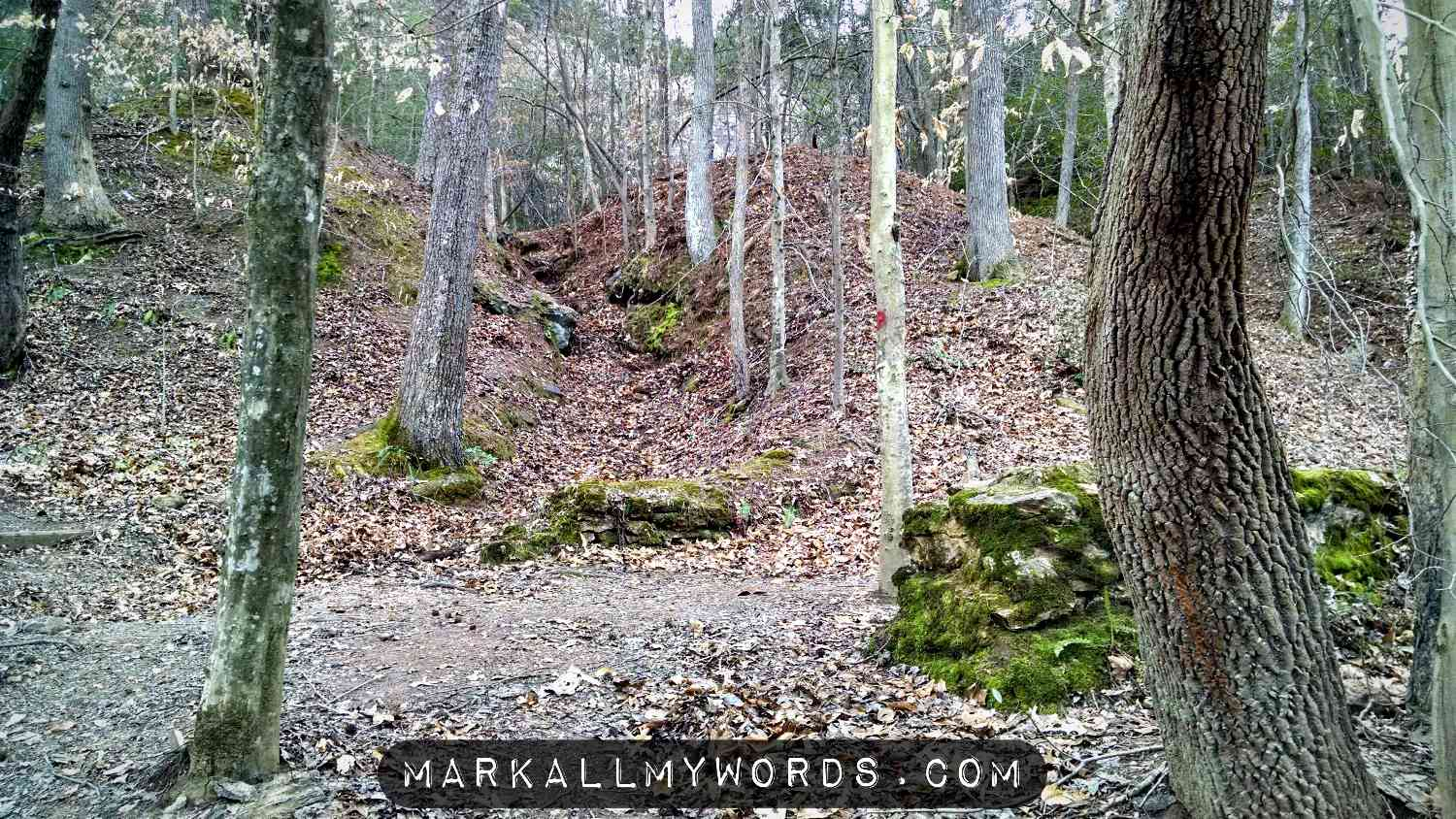 Occoneechee Mountain Trail passing through ruins of an old mill