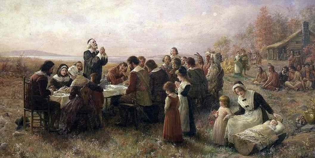 Painting of Pilgrims at Thanksgiving