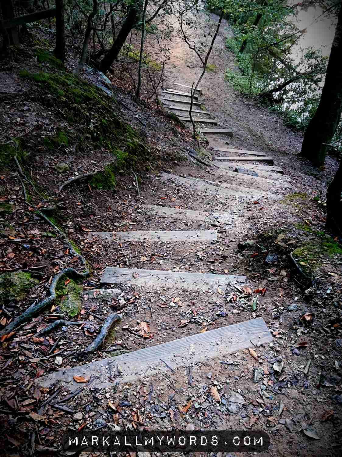 Winding staircase at Occoneechee Mountain