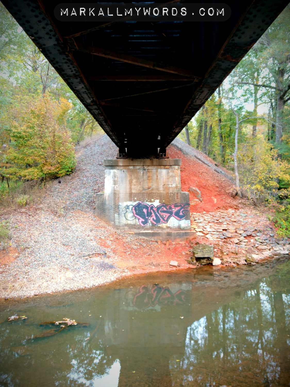Underside of train trestle with graffiti