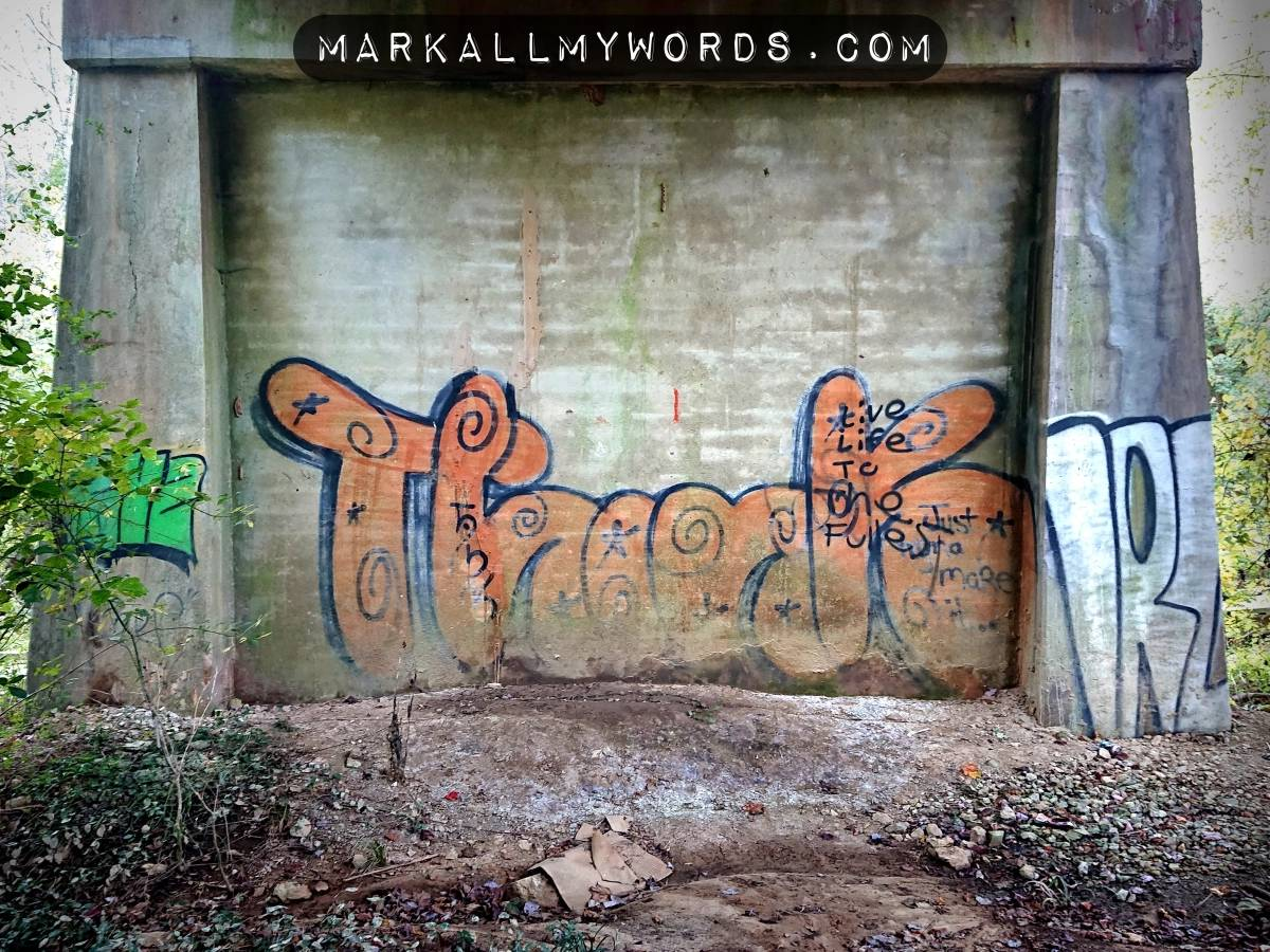 Big orange letters in street art