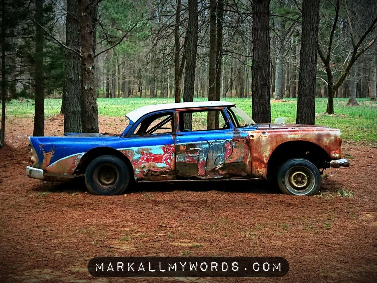Old blue and red stock racing car