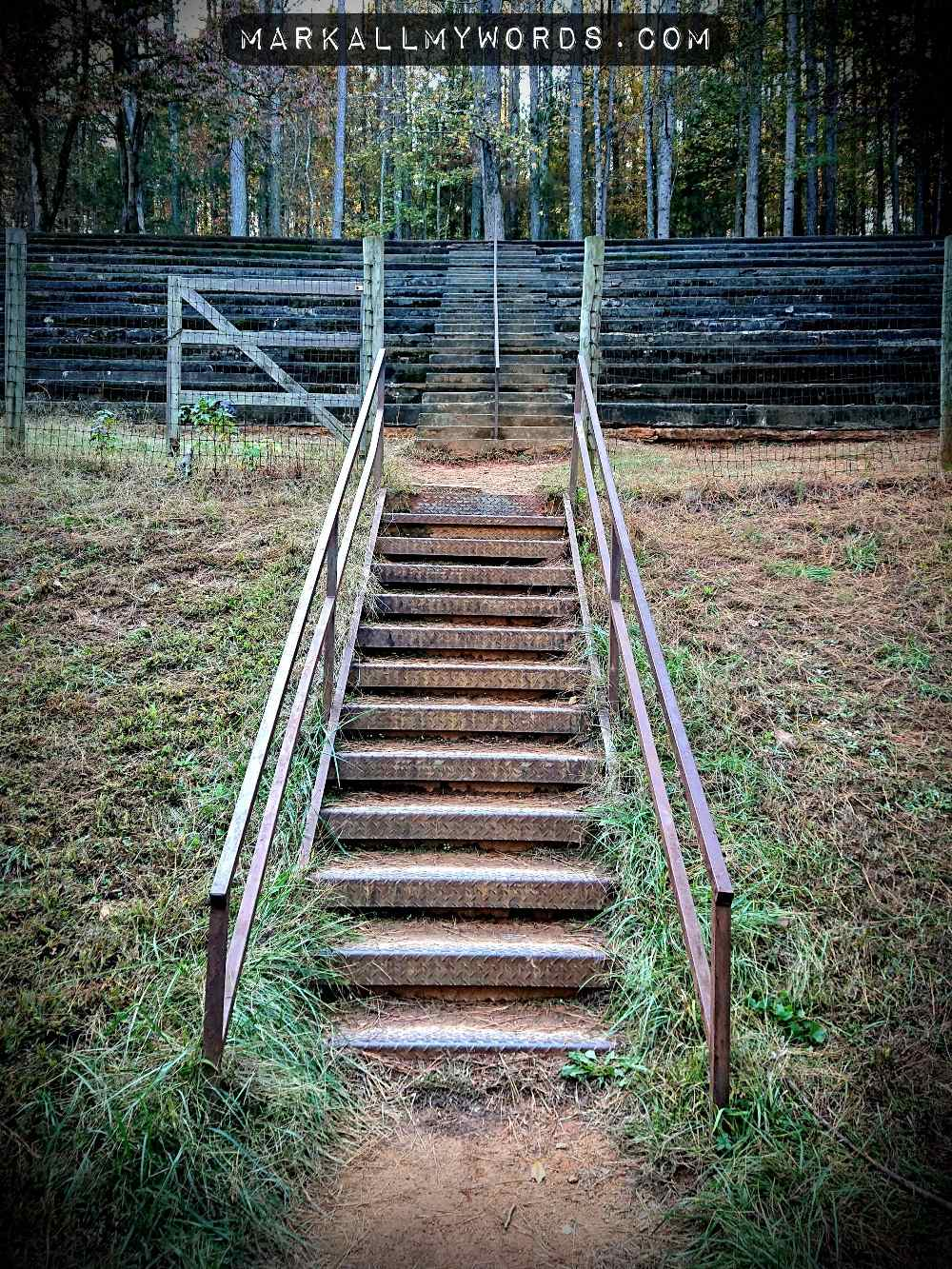 Stairs leading up in to old, abandoned stadium