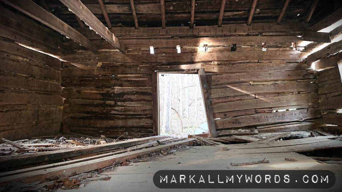 Interior of old wooden cabin, falling down