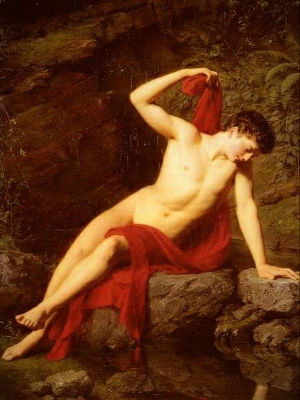 Painting of Greek god Narcissus