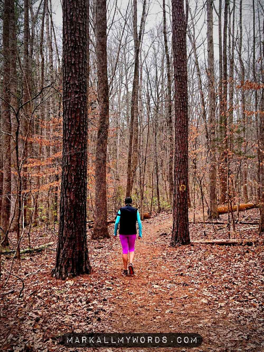 Woman with pink pants walking through pine trees