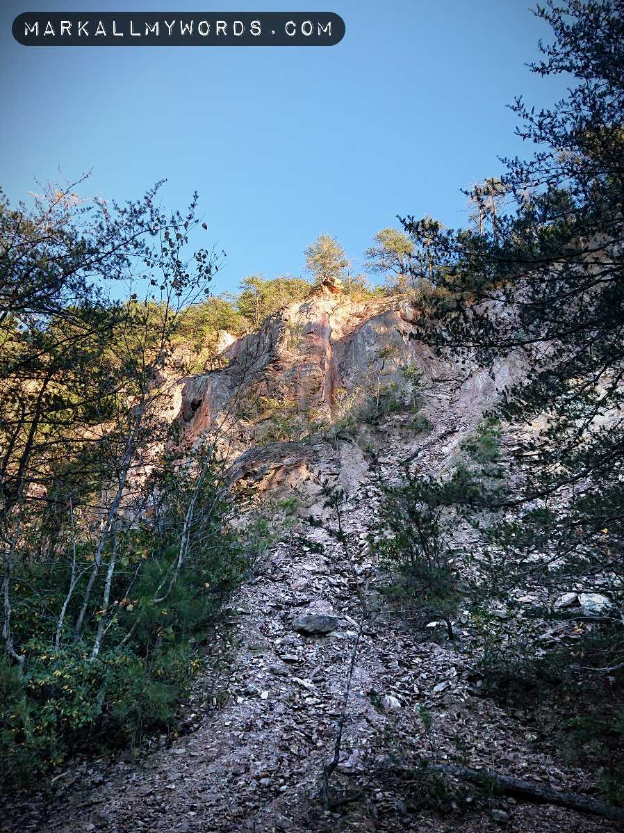 Occoneechee Quarry, looking up to the Overlook