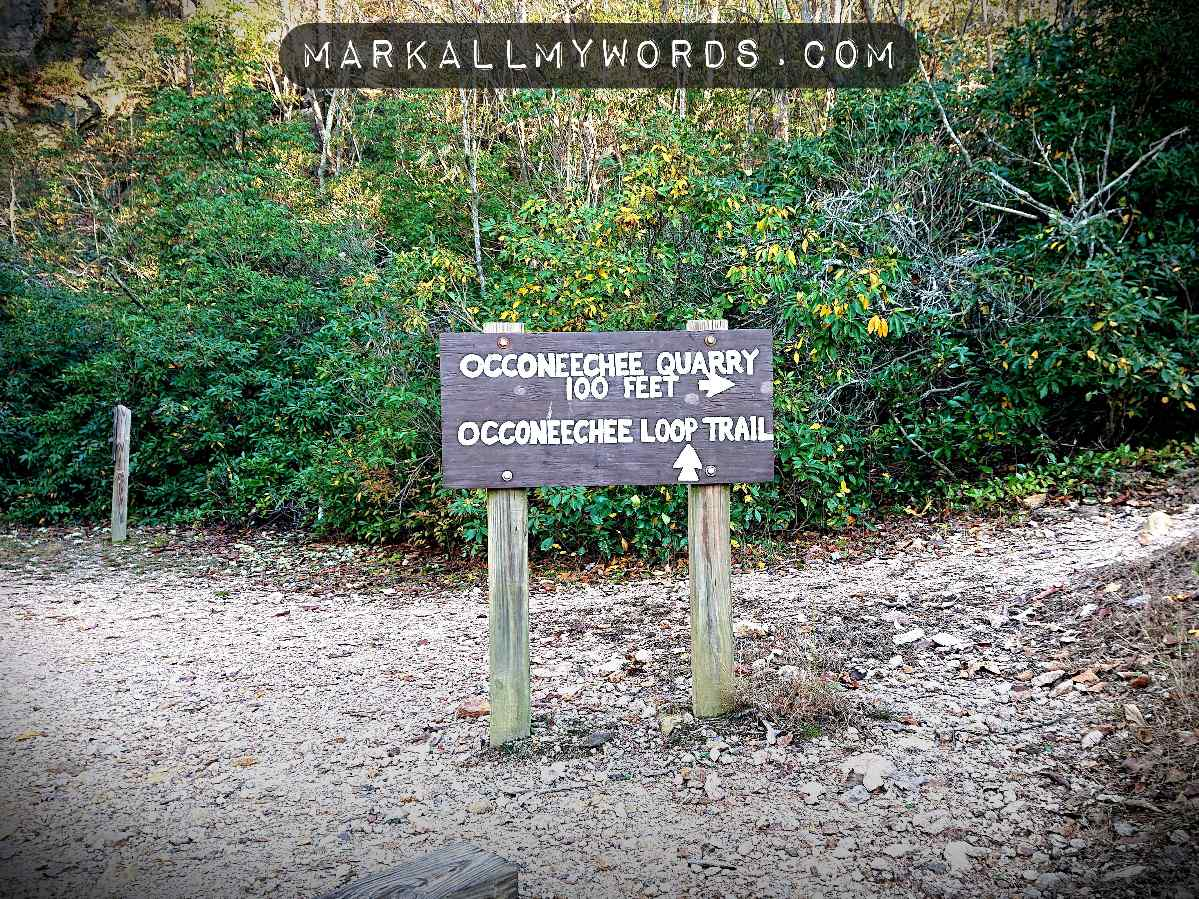 Sign pointing to Occoneechee Quarry