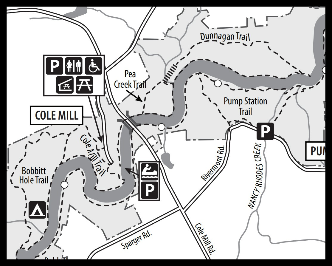 Map of Pea Creek Trail at Eno River State Park