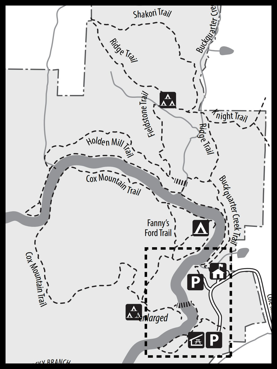Map of Cox Mountain at Eno River State Park