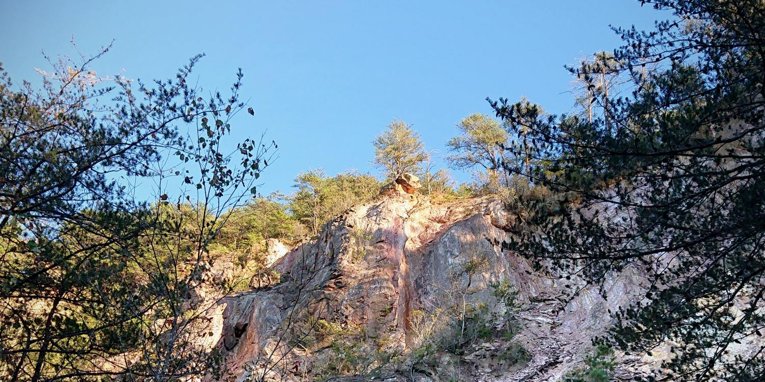 Occoneechee Quarry with blue sky above