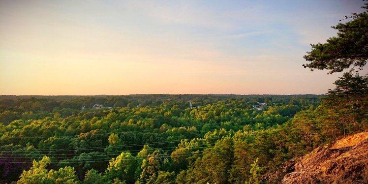 View of Hillsborough, NC from Occoneechee Mountain
